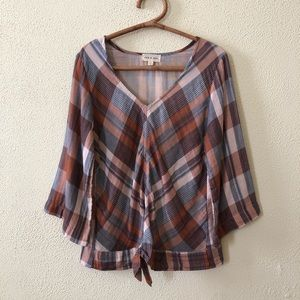 Anthropologie Cloth & Stone Plaid Tie Front Top L